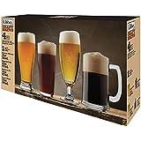 Libbey Craft Brew Sampler Clear Beer Glass Set 4 PC set - Classic Pilsner (19oz) English Pub (16oz) Belgian Ale (16oz) Lager Stein (15oz)