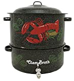 Granite Ware 6194-1 Enamel-on-Steel 2-Tier Decorated Clam-and-Lobster Steamer with Faucet, 19-Quart