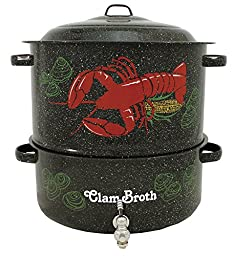 Granite Ware 6194-1 19-Quart Enamel-on-Steel 2-Tier Decorated Clam-and-Lobster Steamer with Faucet