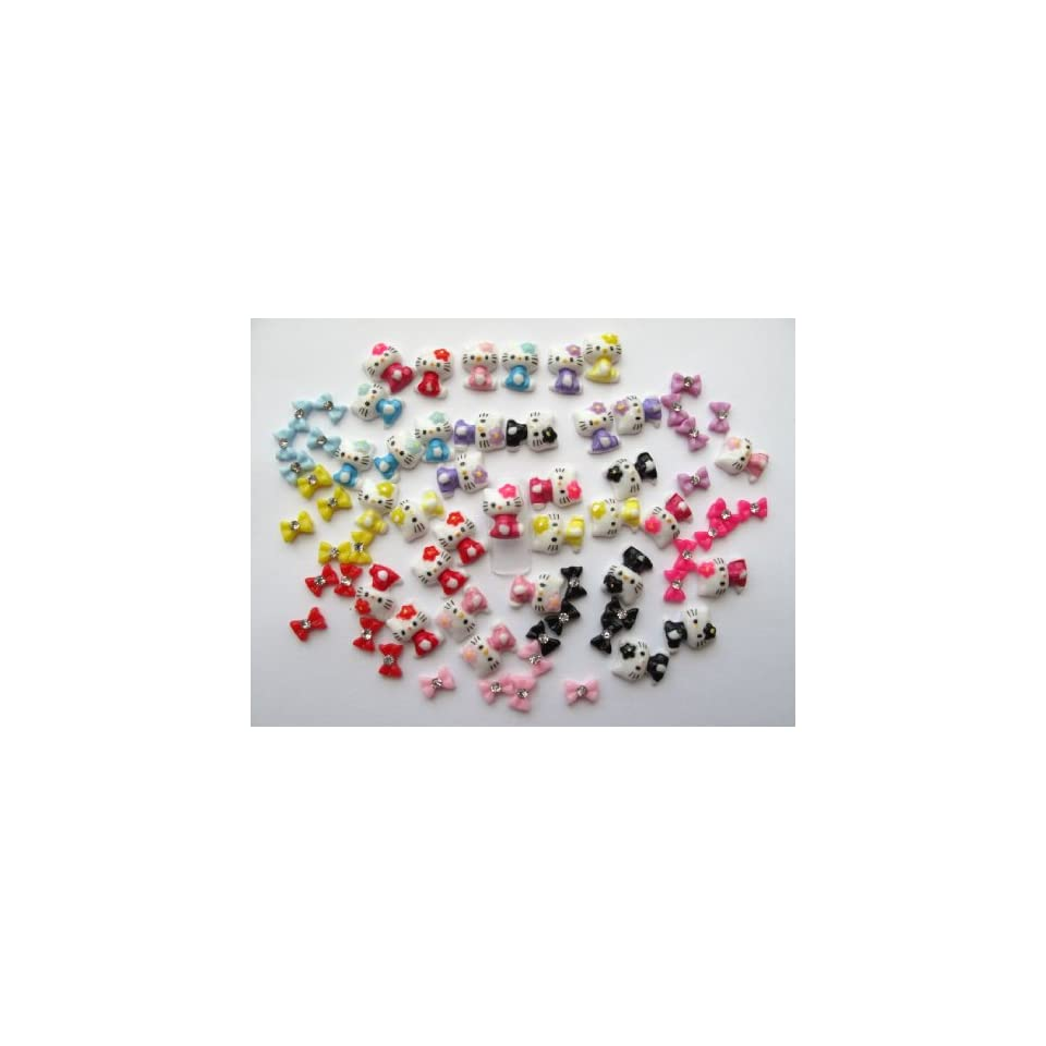 Nail Art 3d 70 Pieces Mix Color Hello Kitty/Bow /Rhinestone for Nails