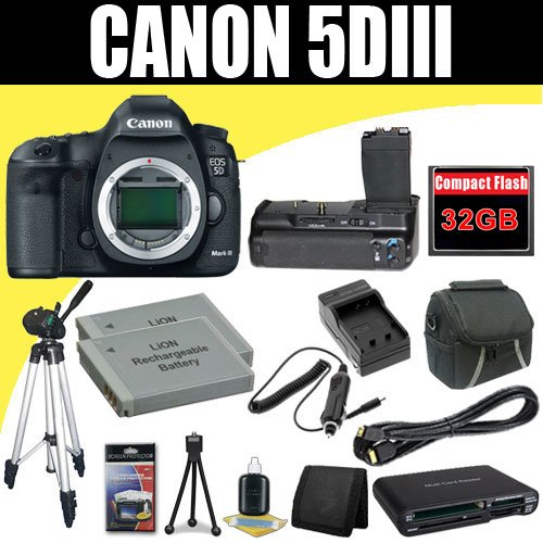 Canon EOS 5D Mark III 22.3 MP Full Frame CMOS with 1080p Full-HD Video Mode Digital SLR Camera (Body) + TWO LP-E6 Replacement Lithium Ion Battery + External Rapid Charger + Battery Grip + 32GB Compact Flash Memory Card + Mini HDMI Cable + Carrying Case + Full Size Tripod + SDHC Card USB Reader + Memory Card Wallet + Deluxe Starter Kit Deluxe Accessory Kit