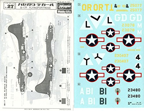 Hasegawa 1:72 B-17F Flying Fortress Decal Sheet #72027*