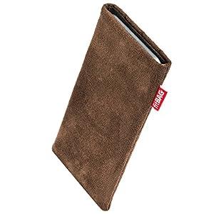 fitBAG Country Braun Handytasche Tasche aus Wildlederimitat mit Microfaserinnenfutter für HTC One X