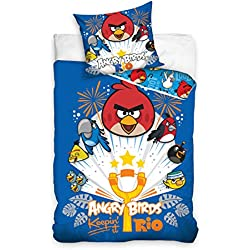 Parure di lenzuola, motivo: Angry Birds Rio catapulta, copripiumino per letto singolo, 100% cotone