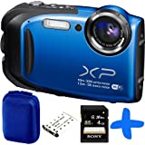 Fuji XP70 Blue Waterproof Digital Camera Bundle + 4GB + Spare Battery+ Allcam Hard Case (Fujifilm XP70 Action Camera, WiFi, 16.4MP, 5x Optical Zoom, Waterproof to 33ft/10m, Shockproof to 5ft/1.5m, Full HD Movies)