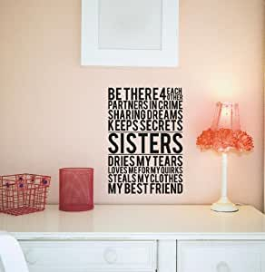 Sisters M Wall Saying Vinyl Lettering Home Decor Decal Stickers Quotes Home Kitchen