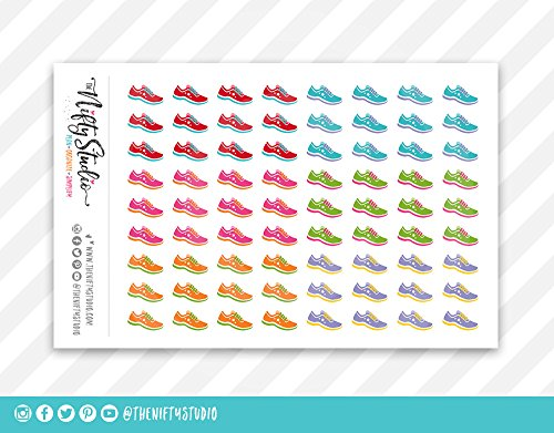 Planner Stickers Running Shoes | Marathon Stickers | Walking Stickers | Exercise Stickers | The Nifty Studio | Stickers for Planners | Calendar Stickers