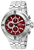 Invicta Pro Diver Men's Quartz Watch with Red Dial Chronograph Display and Silver Stainless Steel Bracelet in Stainless Steel Case 12352