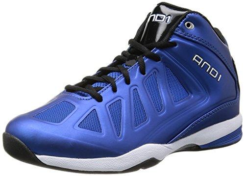 AND 1 Men's Backlash Mid Basketball Shoe,Royal/Black/White,11.5 M US