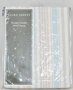 Laura Ashley Fabric Shower Curtain Somerset Stripe Light Blue Green Gray White