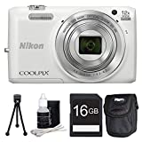 Nikon COOLPIX S6800 16MP 1080p HD Video Digital Camera (White) with Compact Digital Camera Deluxe Carrying Case - 16GB Memory Card - Mini Tripod - and 3 Piece Lens Cleaning Kit