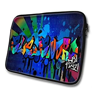 """Graffiti Names"" designed for Alejandro, Designer 15''- 39x32cm, Black Waterproof Neoprene Zipped Laptop Sleeve / Case / Pouch."