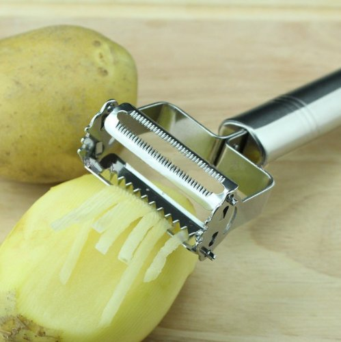 Stainless Steel Vegetable Fruit Potato Julienne Peeler Kitchen Garnishing Tool, Premium Zoodles Maker for Zucchini Noodles,sharp Professional Potato Peeler, Shredder, Cutter and Slicer in One (Premium In Julienne Peeler Slicer compare prices)
