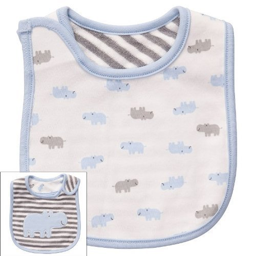 Carter's Hippo Stripe Baby teething/feeding REVERSIBLE Bib Grey Blue White