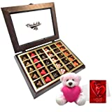 Valentine Chocholik Premium Gifts - Striking Collection Of Love Chocolates With Teddy And Love Card