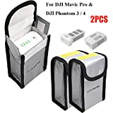 Fireproof Battery Bag Lipo Charging Storage Bag for DJI Mavic Pro DJI Phantom 3 Phantom 4, LiPo Battery Pouch Protection Bag for Toy RC Drone Vehicle, 150 x 90 x 55 mm (2PCs) (Color: Silver, Tamaño: 150*90*55mm (2PCS))