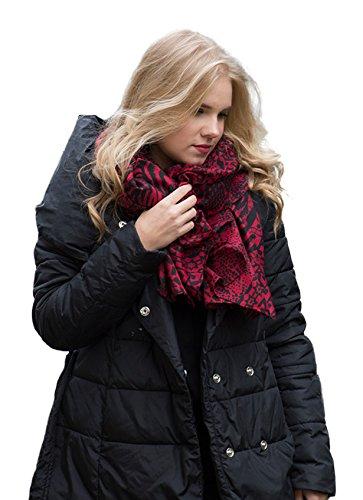 accessu-Echarpe-Foulard-pour-Femme-Multi-Patched-Animal-Geometric-Designs-redblack