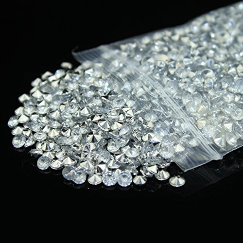 Bit Fly 2000pcs 6mm 1CT Wedding Decoration Acrylic Crystals Diamond Table Confetti Party Supplies 21+Colors for you to choose (Silver)