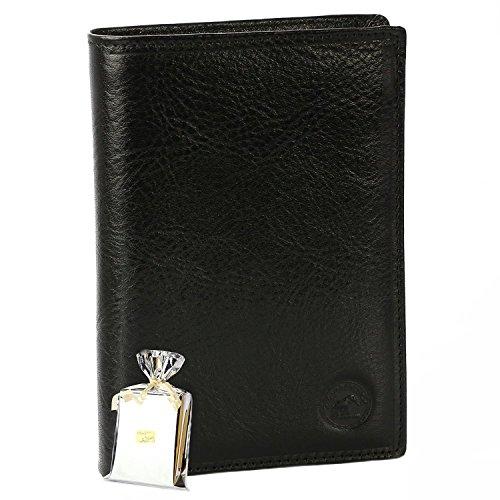 GRAND CLASSIQUE Portefeuille en cuir NOIR N1328 - Grand Portefeuille Homme PACK cadeau Noël, une fête, un anniversaire