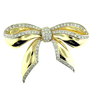 4.25 Ct Yellow & White Gold Bow Tie Brooch Pin
