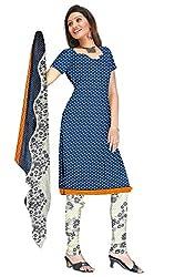 Shopeezo Blue Colored Micro Cotton Printed Dress Material