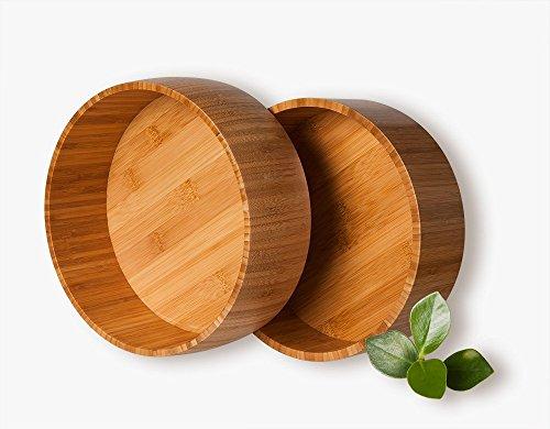 2-er schöne Premium Qualität Salatschüssel Salad Bowl aus Bambus; 24 cm x 24 cm x 8 cm, 580g, 26 cm x 26 cm x 9 cm, 730g