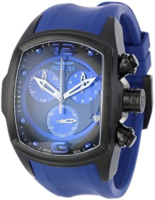 Invicta Men's 6729 Lupah Collection Chronograph Black Ion-Plated Royal Blue Rubber Watch