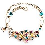 """Rolicia """"Paon Reine"""" Plaque d'Or Multi Couleur Cristal Tchèque 17 + 5 Cm Bracelet à Maillons De Bracelet..."""
