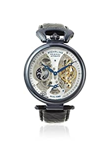 Stuhrling Original Men's 127A2.33X52 Emperor Grand DT Mechanical Skeleton Dual Time Diamond Blue PVD Watch