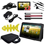 Skque 8pc Accessories Set for Acer Iconia Tab A200 10.1-Inch Smart Tablet - Include: Black Premium Leather Case Folio w/Stand + 2 Packs Clear Screen Protectors + Black EVA Carrying Bag + Rapid Car and Home Wall Charger + Earphone w/mic + Fishbone Holder(