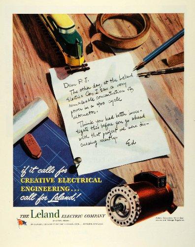 1945 Ad Leland Electric Motor Generators Drawing Instruments Voltage Alternator - Original Print Ad