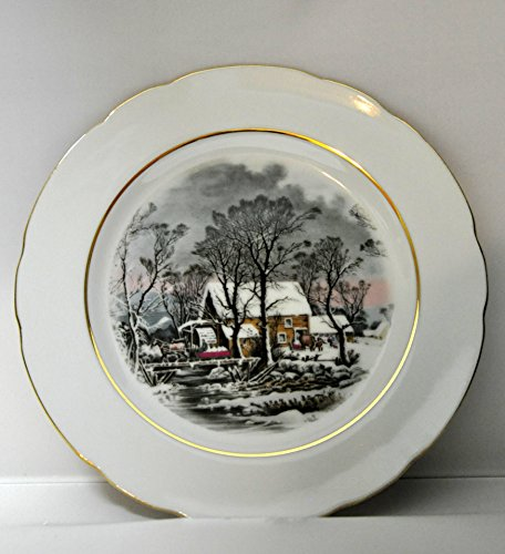 Avon - Currier and Ives Collection -1977 - Raised Cake Plate, Butter Dish, Dinner Bell, Picture, Sugar Bowl and Creamer, Tea Pot, Cookie Plate,Tea Cups and Saucers (Avon Teapot compare prices)