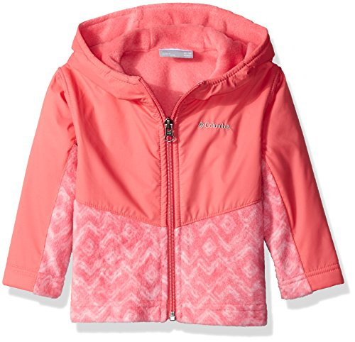 Columbia Baby Girls' Steens Mt Overlay Hoodie, Camellia Rose/Zig Zag, 12-18 Months