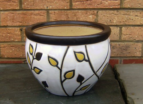 1x Glazed Planter - Ceramic Pots - Jardiniere cream / ivory (free delivery)