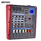 ammoon オーディオミキサー ミキシングコンソール デジタル 2-バンドEQ Bluetooth 4チャンネルモノラル ステレオ USBインタフェース付き