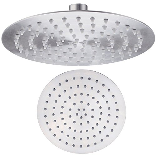 Kes J202-P All Stainless Steel 8-Inch Shower Head Fixed Mount Rainfall Style Ultra Thin, Brushed front-267656