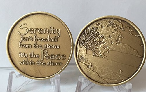Serenity & Peace-AA-Alcoholics Anonymous-Sober-Birthday-Anniversary-Medallion-Coin-Chip