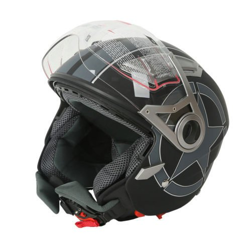 XFMT Motorcycles 3/4 Open Face Matte Black Star Dual Visor DOT Motorcycle Scooter Helmet XL