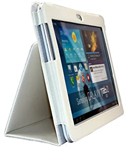 Shenit Premium PU Leather Case Cover Folio for Samsung Galaxy Tab 2 10.1 P5100/P5110 - White + Free Retractable Stylus