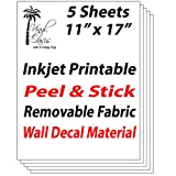 "Vinyl Oasis - Inkjet Printable Peel & Stick Removable Fabric Wall Decal Material (5 Sheets) 11""x17"""