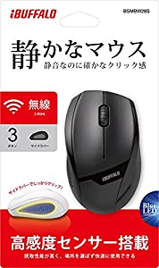 BUFFALO 無線(2.4GHz)BlueLEDマウス 静音/3ボタン ブラック BSMBW28SBK