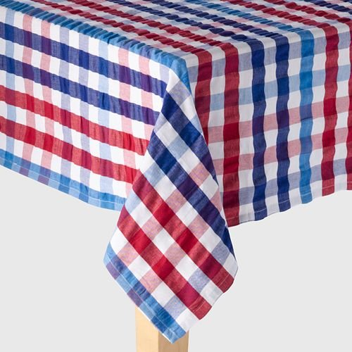Patriotic Red White and Blue Gingham Tablecloth