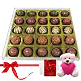 Valentine Chocholik Premium Gifts - Love Connection Truffle Gift Box With Teddy And Love Card