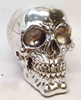 Chrome Plated Resin Silver Skull Figurine Statue Sculpture Halloween from Atl