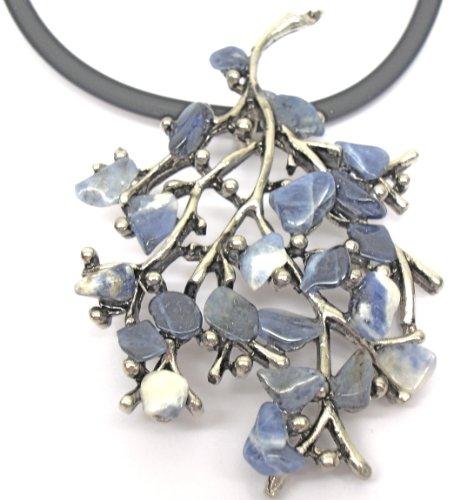 Sodalite Stone Twig Shaped Necklace