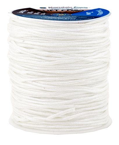 Mandala Crafts Extra Long 1mm 1.5mm 2mm Braided Nylon 109 YD Light Sheet Lift Blinds Cord (1.5mm, White) (Sewing Chord compare prices)