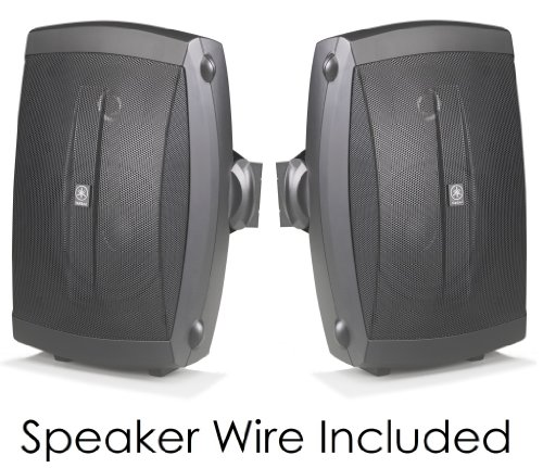 "Yamaha All Weather Indoor & Outdoor Wall Mountable Natural Sound 130 Watt 2-Way Acoustic Suspension Speakers (Set Of 2) Black With 6.5"" High Compliance Woofer, 1"" Pei Dome Tweeter & Wide Frequency Response + 50 Ft 16 Gauge Speaker Wire - Compatible With A"