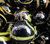 """Unique & Custom {1"""" Inch} Approx 2 Pound Set of Big """"Round"""" Opaque Marbles Made of Glass for Filling Vases, Games & Decor w/ Shiny Dark Dramatic Bee Hive Swirl Design [Black & Yellow Colors]"""