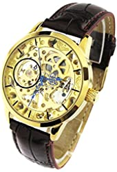 YouYouPifa Brilliant Hand-winding Mechanical Golden Dial Brown PU leather Band Watch NBW0FD5533-SS3
