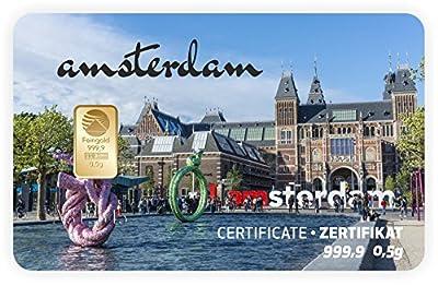 Goldbarren Geschenkkarte 0,5 g 0,5g Gramm Feingold 999.9 Nadir Gold Stadt Amsterdam
